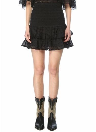 Etoile Isabel Marant Etoile Isabel Marant  Nakışlı Volanlı Mini Etek 101601855 Siyah